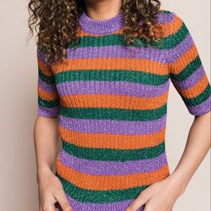 GANNI lurex Striped Sweater